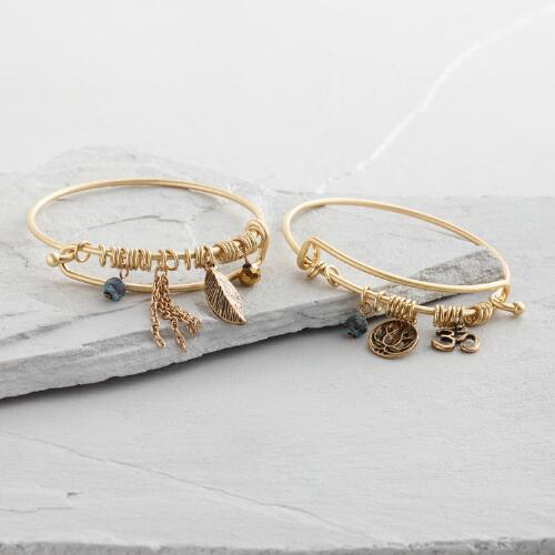 Gold Wire Bangle Charm Bracelets Set of 2