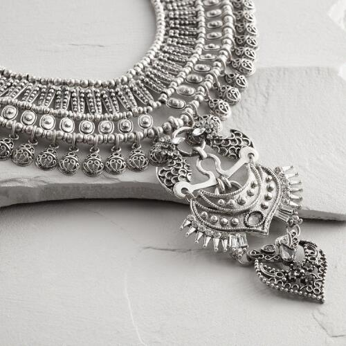 Silver Indian Statement Necklace