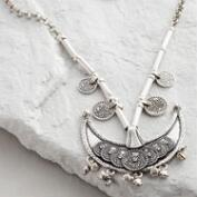 Silver Crescent Necklace