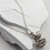 Silver Ball Locket Pendant Necklace