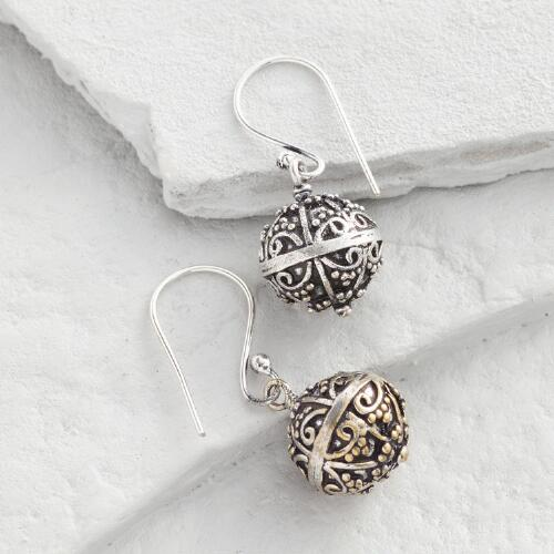 Etched Ball Drop Earrings