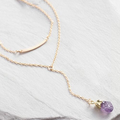 Amethyst and Gold Pendant Necklaces Set of 2