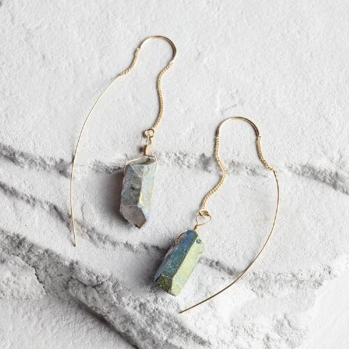 Gold and Quartz Pull-Through Earrings