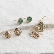 Druzy and Hamsa Stud Earrings Set of 3