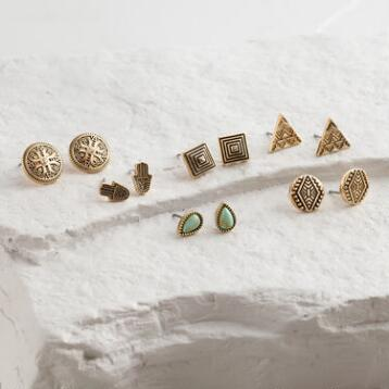 Gold Hamsa and Mint Stud Earrings