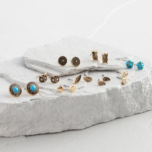 Turquoise and Gold Owls Earrings Set of 9