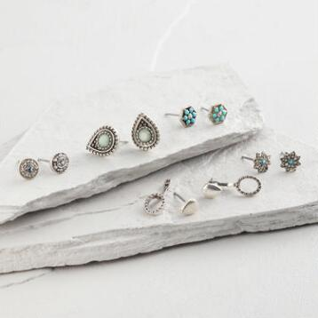 Silver and Aqua Stud Earrings Set of 5