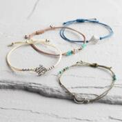 Silver and Blue Friendship Bracelets Set of 4
