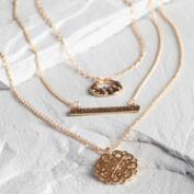 Gold Just Breathe Necklaces Set of 3