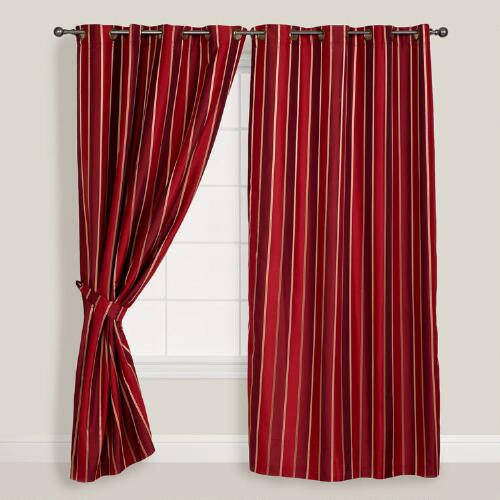 Wine Imperial Striped Grommet Curtains