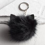 Black Cat Pom Keychain
