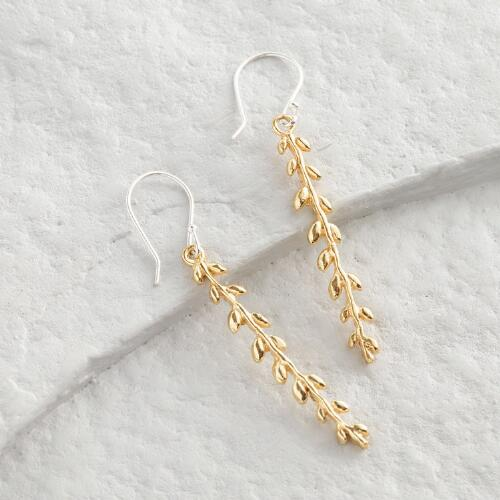 Gold Leaf Linear Drop Earrings