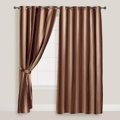 Brown Imperial Striped Grommet Curtains