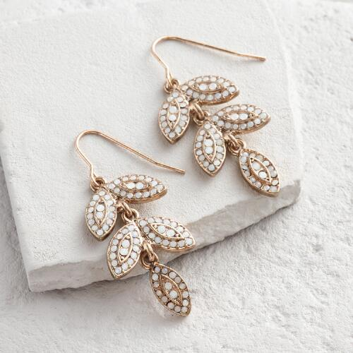 White Leaf Tier Drop Earrings