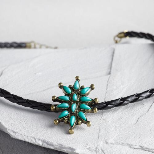 Turquoise Starburst Choker Necklace