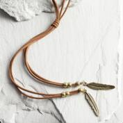 Leaf and Brown Suede Lariat Necklace