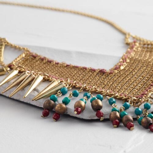 Gold Mesh and Turquoise Statement Necklace