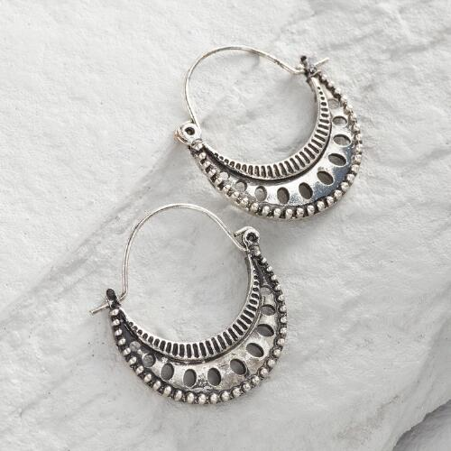 Silver Crescent Hoop Earrings