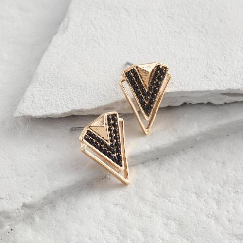 Black and Gold Chevron Stud Earrings