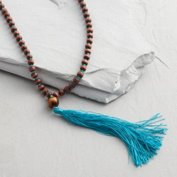 Wood Bead Teal Tassel Necklace