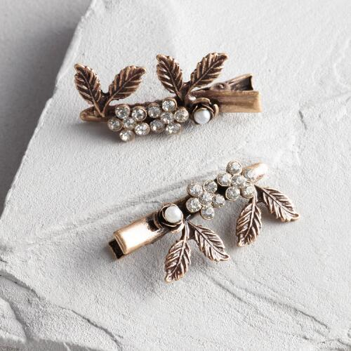 Pearl and Leaf Hair Pins Set of 2