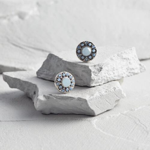 Pale Blue and Silver Stud Earrings