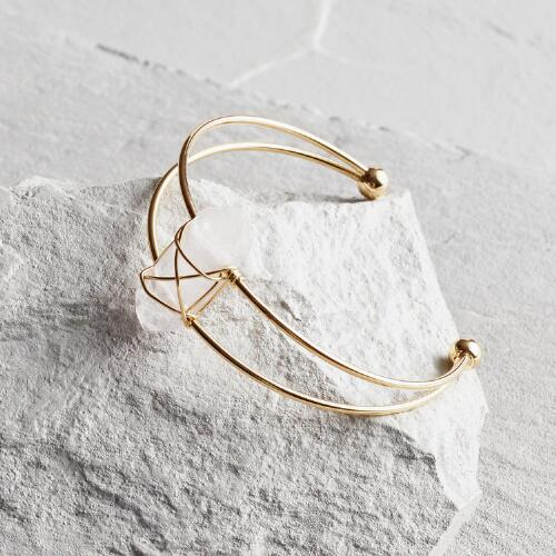 Quartz Crystal Wire Cuff Bracelet