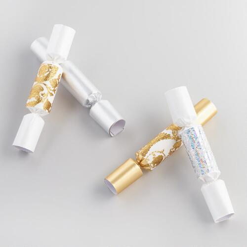 Mini Gold and Silver Christmas Crackers Set of 2