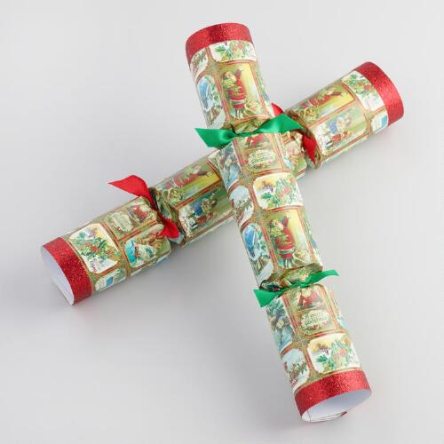 "10"" Vintage Christmas Crackers 8 Count"