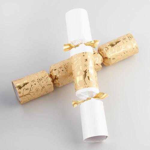"10"" Gold Woodland Christmas Crackers 8 Count"