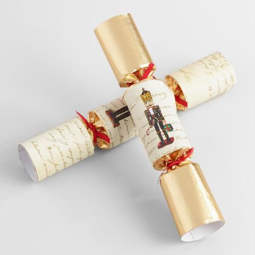 Large Ivory Nutcracker Crackers 6 Count