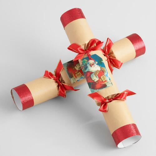 Large Santa Tag Crackers 6 Count