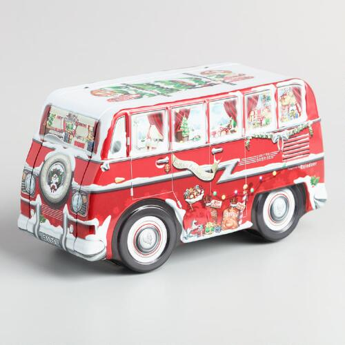World Market Red Bus Chocolate Chip Cookie Tin