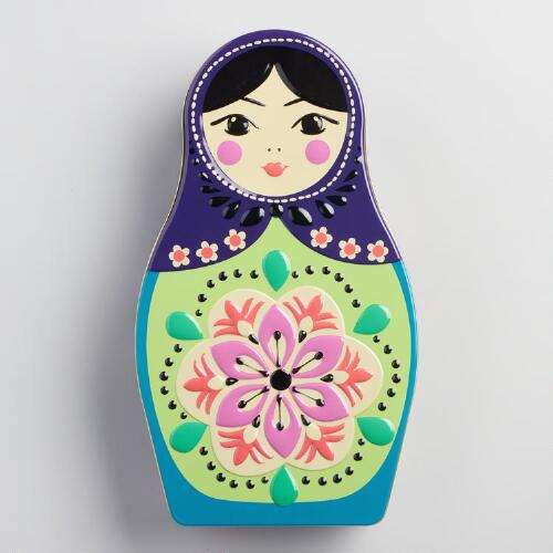 World Market® Russian Doll Tea Cookie Tin