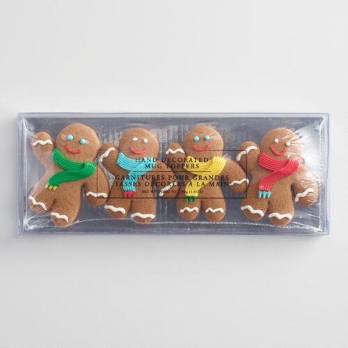 Gingerbread Man Holiday Mug Toppers 4 Pack