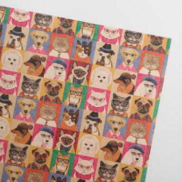 Cats and Dogs Kraft Wrapping Paper Roll