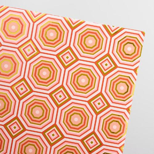 Pink Geo Modern Kraft Wrapping Paper Roll