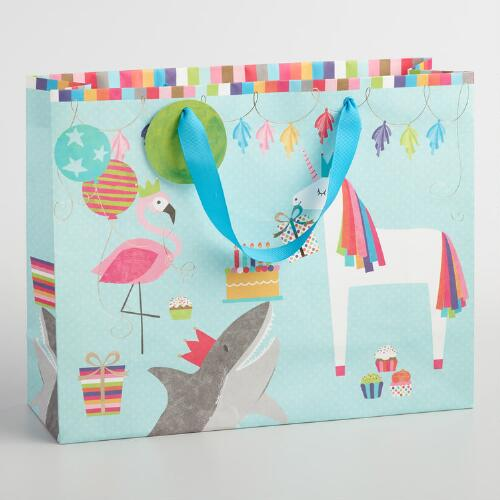Large Flamingo Shark and Unicorn Gift Bag