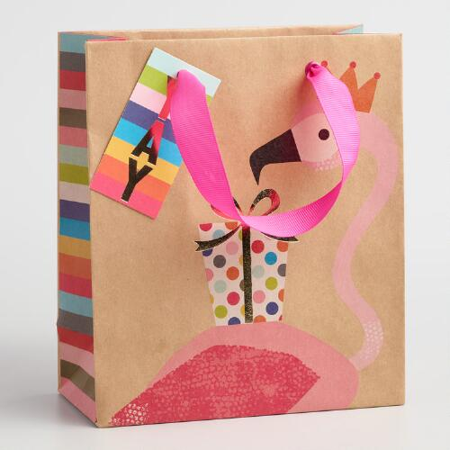 Small Flamingo Yay Present Gift Bags Set of 2