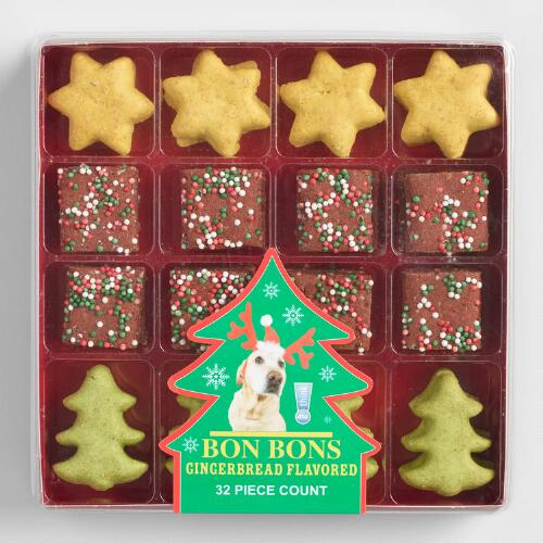 Holiday Bon Bons Gingerbread Flavored Dog Treats 32 Piece