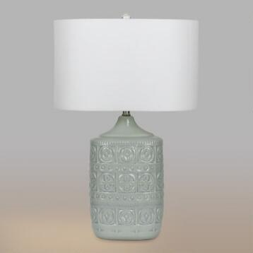 Light Gray Ceramic Emma Table Lamps Set of 2