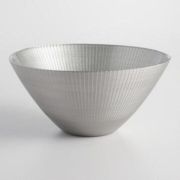 Silver Glass Serving Bowl