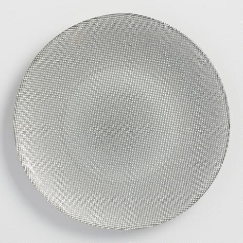 Silver Glass Plates Set of 6