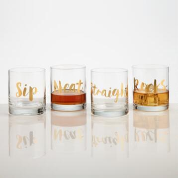 Golden Words DOF Glasses Set of 4
