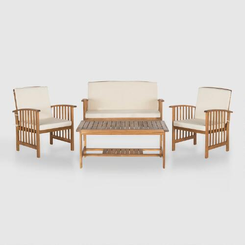 Brock 4 Piece Outdoor Occasional Set with Ivory Cushions
