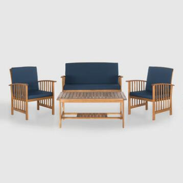 Brock 4 Piece Outdoor Occasional Set with Navy Cushions