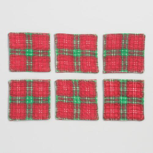 Plaid Linen Coasters Set of 6