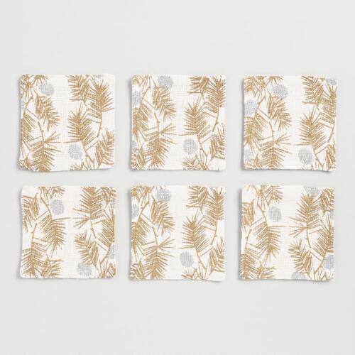 Winter Linen Coasters Set of 12
