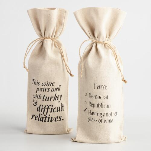 Humorous Thanksgiving Wine Gift Bags Set of 2
