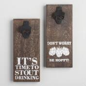Wood and Metal Wall Mounted Beer Bottle Openers Set of 2